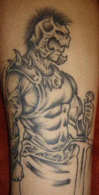 Amazing Grey Ink Warrior Aztec Tattoo