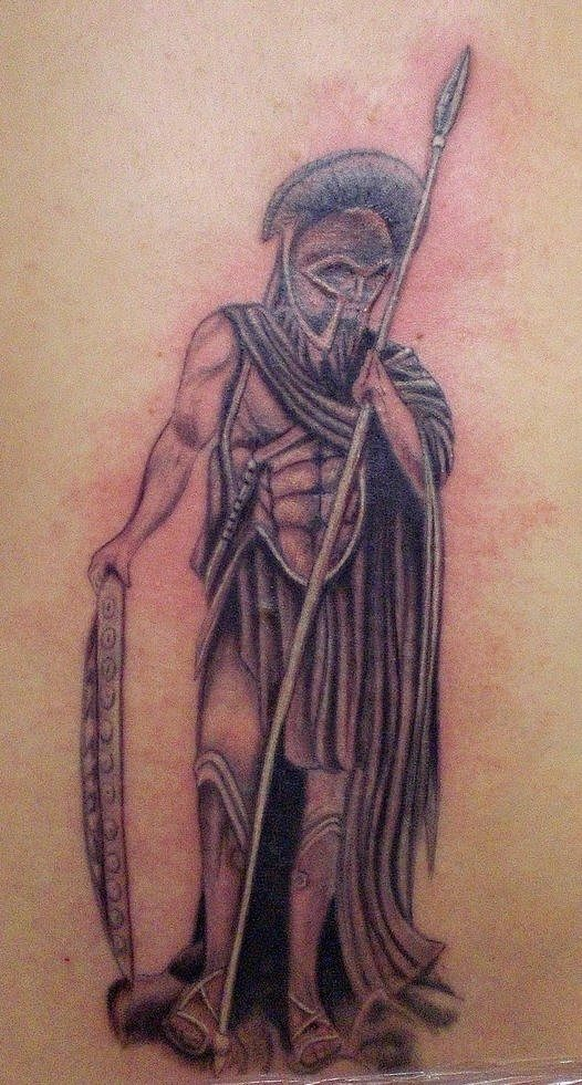 Amazing Grey Ink Warrior Tattoo