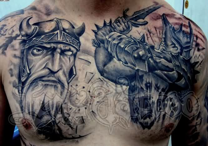 Amazing Grey Ink Warriors Tattoos For Chest