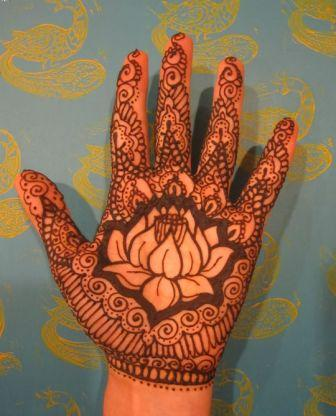 Amazing Henna Lotus Tattoo On Palm Of Hand