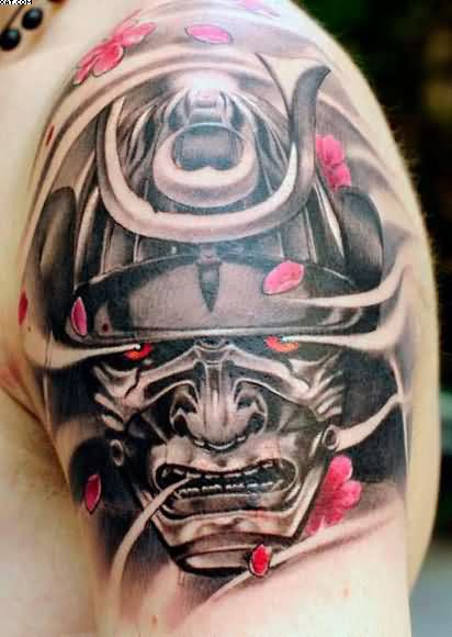 Amazing Japanese Warrior Head Tattoo For Shoulder