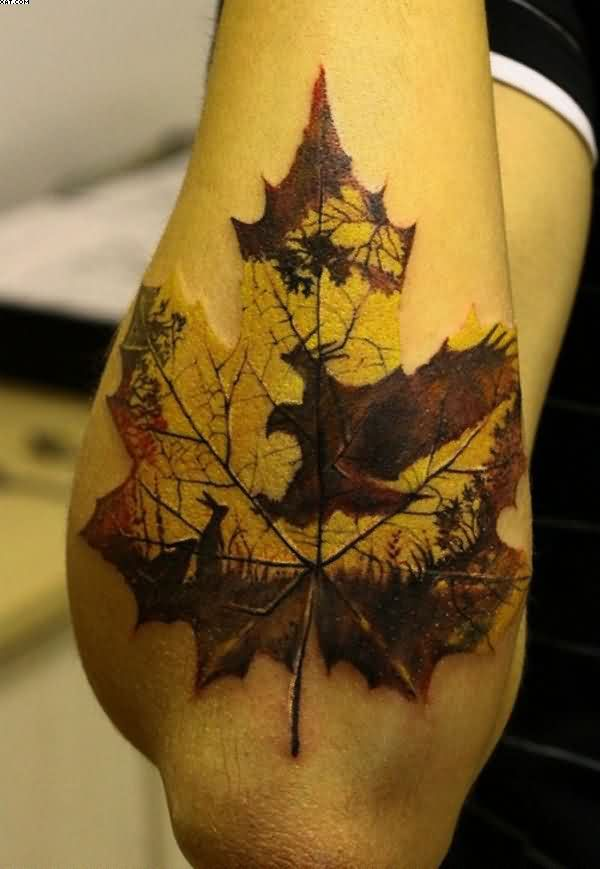 Amazing Maple Leaf Tattoo On Arm