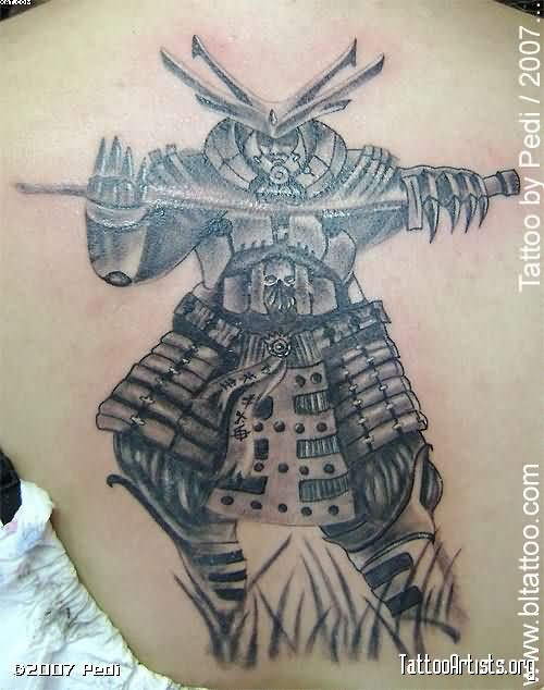 Amazing Samurai Warrior Tattoo For Back