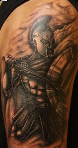 Amazing Spartan Warrior Tattoo