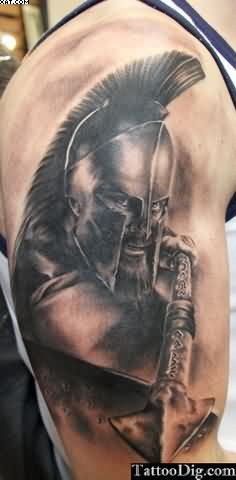 Amazing Spartan Warrior Tattoo For Biceps