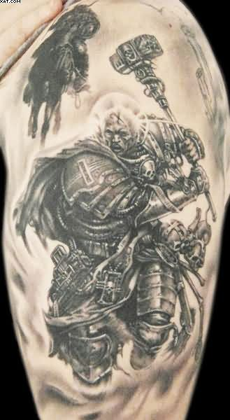 Amazing Strong Realism Warrior Tattoo