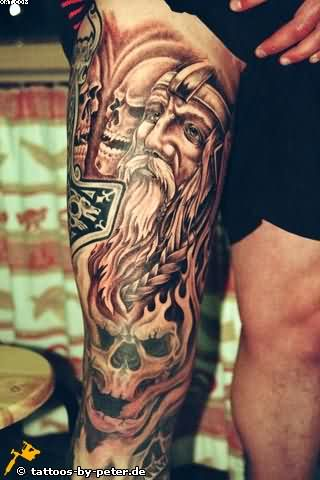Amazing Viking Warrior And Skull Tattoos On Leg