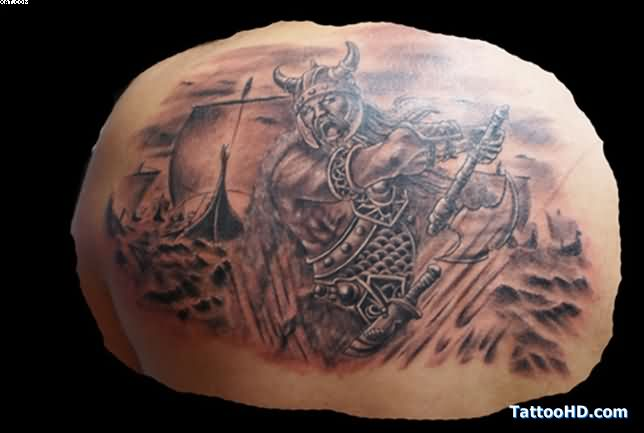 Amazing Viking Warrior Tattoo