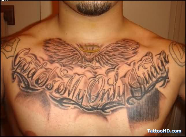 Angel Wings And Lettering Tattoos On Chest