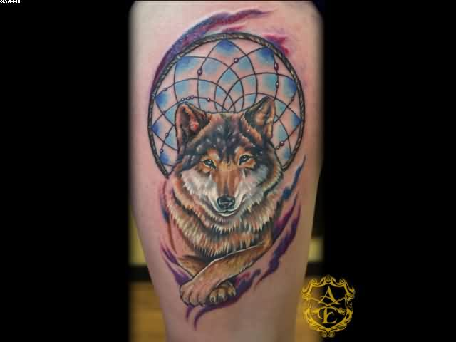 Animal Wolf Dream Catcher Tattoo