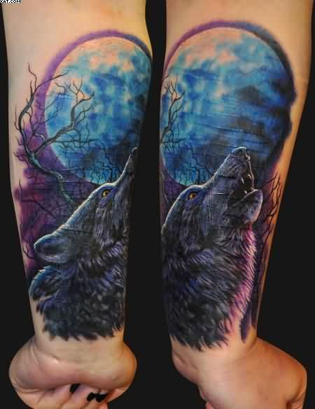 Attractive Howling Wolf Tattoos