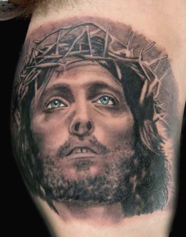 Awesome Jesus Face Portrait Tattoo