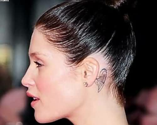 Back Ear Wing Tattoo For Girls