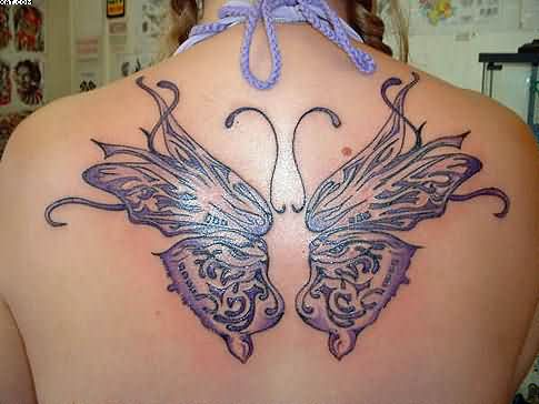 Beautiful Butterfly Wings Tattoos On Back