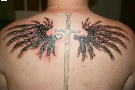 Beautiful Cross And Wings Tattoos On Back