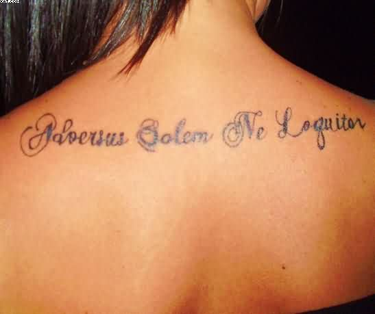 Beautiful Words Tattoos On Upper Back