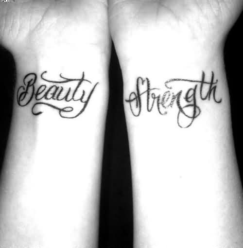 Beauty Strength Wrist Tattoo