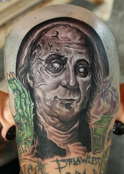 Ben Franklin Zombie Tattoo On Shoulder