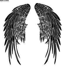 Black Ink Angel Wings Tattoo Design