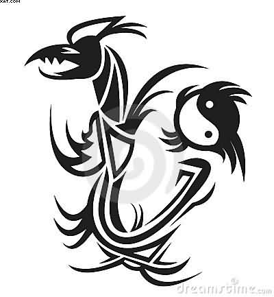 Black Ink Tribal Dragon Yin Yang Tattoo Design
