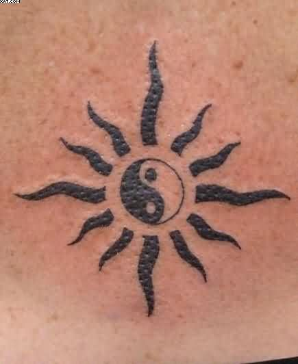 Black Ink Yin Yang Sun Tattoo