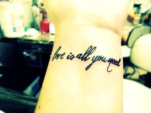 Black Short Love Words Tattoos On Wrist