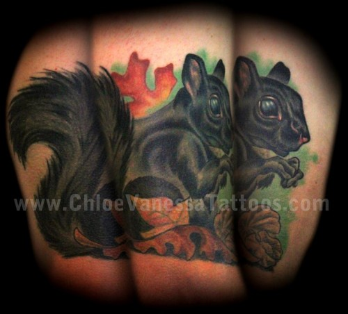 Black Squirrel Fall Leaves Walnuts Autumn Rodent Wildlife Tattoos