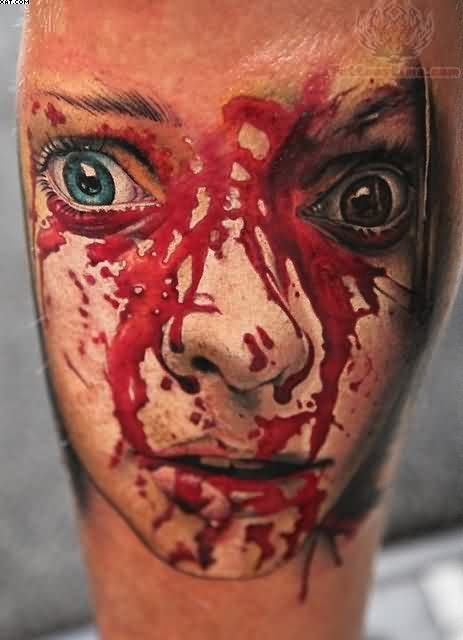 Bleeding Zombie Face Close Up Tattoo