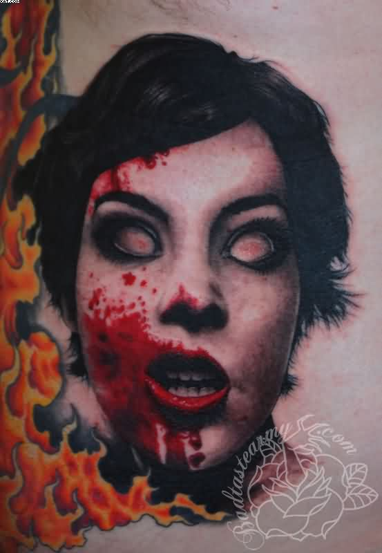 Bloody Zombie Woman Face Tattoo