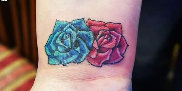 Blue And Red Rose Tattoos On WristBlue And Red Rose Tattoos On Wrist