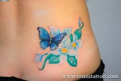 Blue Butterfly With Flowers Tattoos For Women