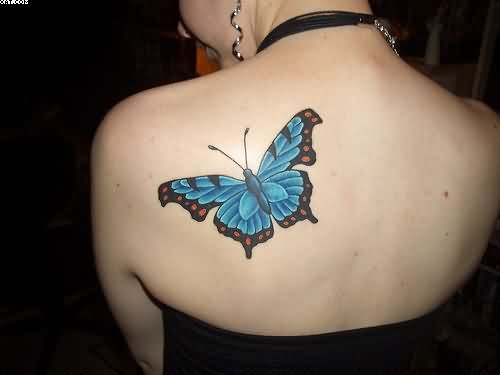 Blue Butterfly Women Tattoo On Back ShoulderBlue Butterfly Women Tattoo On Back Shoulder
