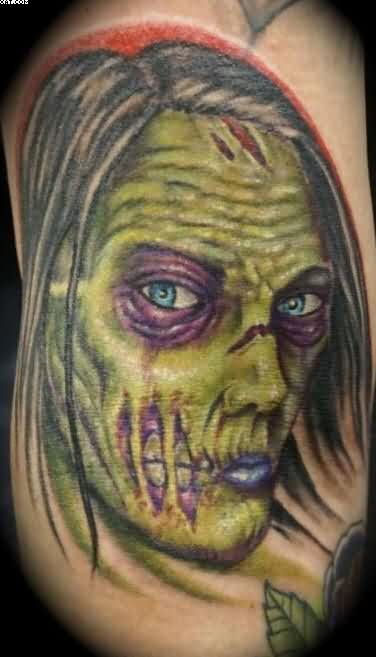 Blue Eyes Zombie Woman Tattoo