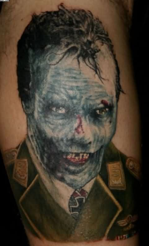 Blue Ink Zombie Face Tattoo