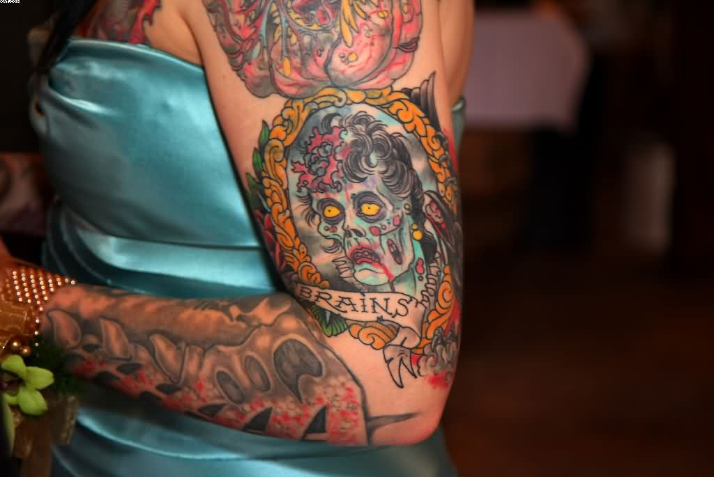 Brains Zombie Tattoo On Arm For Girls