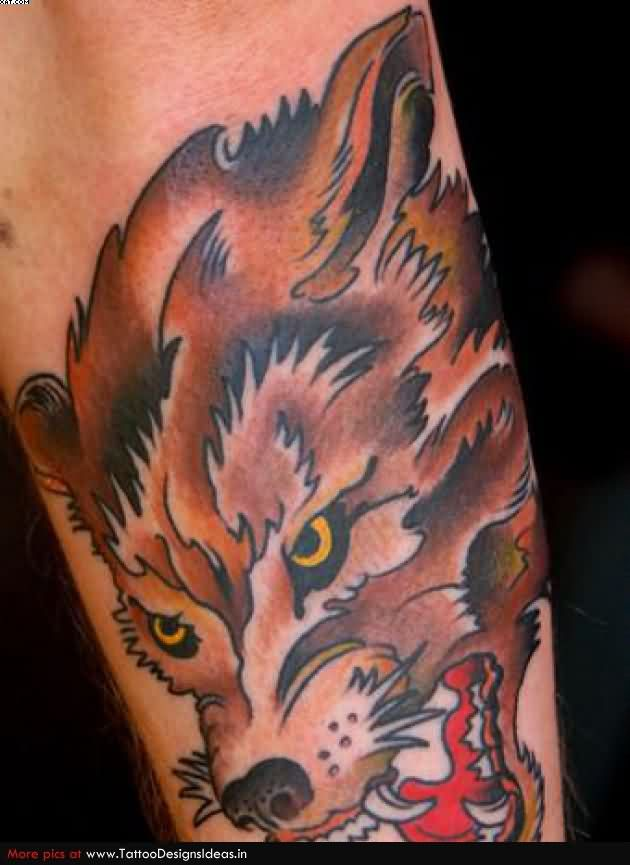 Brown Ink Wolf Tattoo