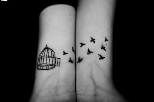 Cage Birds Tattoos On Wrist