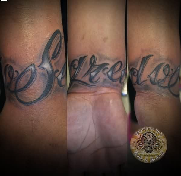 Chicano Lettering Tattoos On Wrist