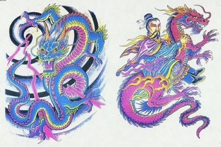 Chinese Wizard Jadugar Riding Dragon Tattoo Designs