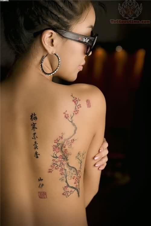 Chinese Words Tattoos With Blossoms On Back