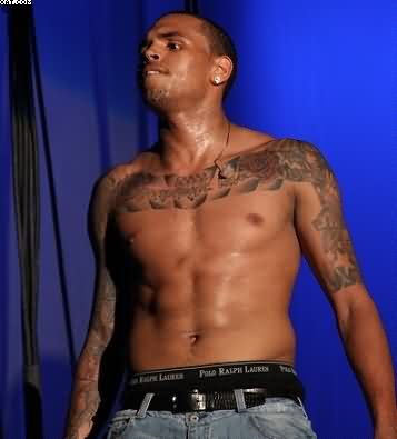 Chris Brown Wings Tattoos On Chest
