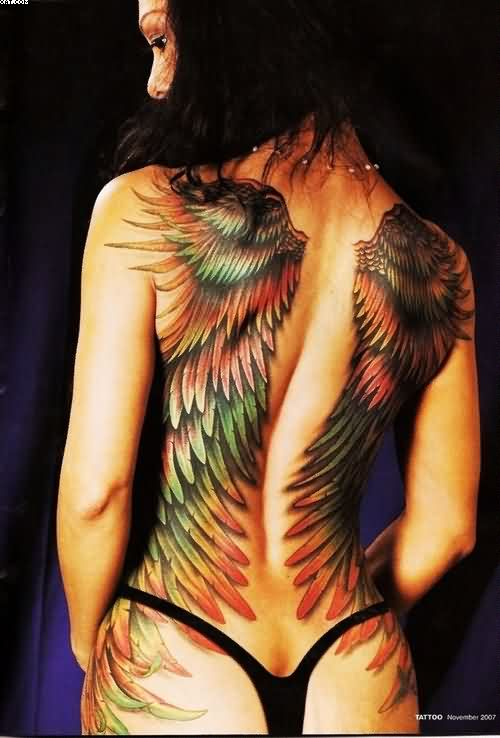 Color Ink Guardian Angel Wings Tattoos On Back