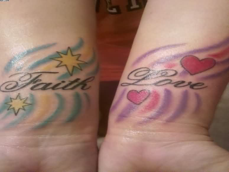 Colorful Faith And Love Word Tattoos On Wrist