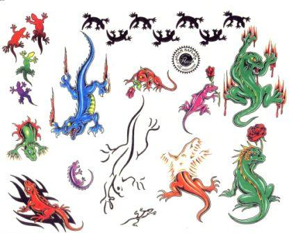 Colorful Lizard Tattoo Collection