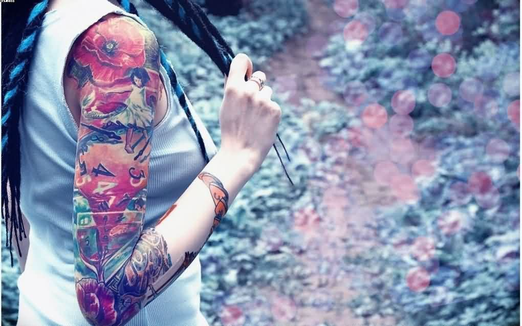 Colorful Right Sleeve Tattoos For Women