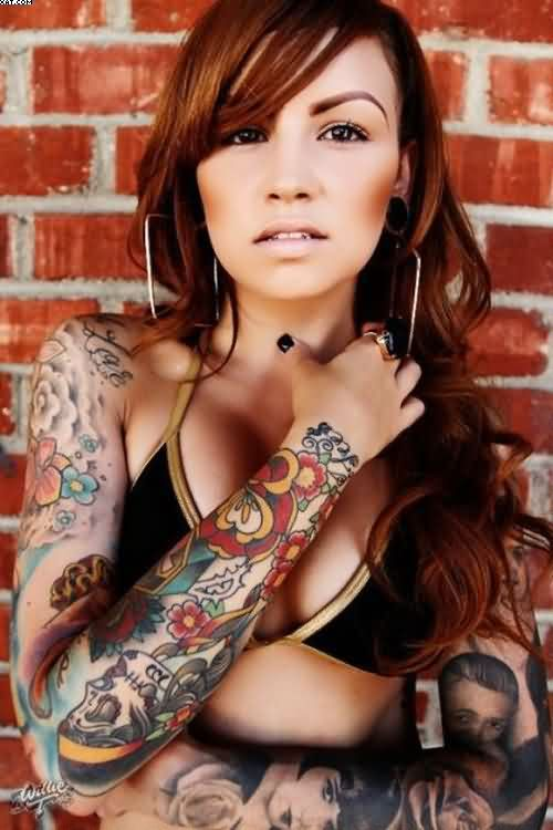 Colorful Sleeve Tattoos For Women