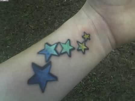 Colorful Stars Tattoos On The Wrist