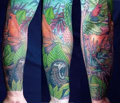 Colorful Wildlife Sleeve Tattoos
