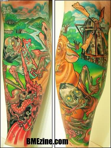 Colorful Zombie World Sleeve Tattoos