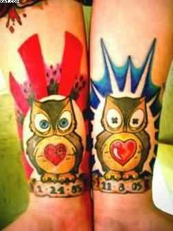 Colourful Owl Tattoos On Wrist